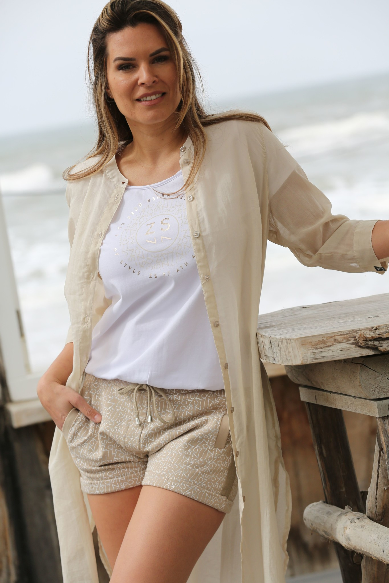ZOSO ZOSO  214Cannes Luxury Voile Blouse 0007-Sand