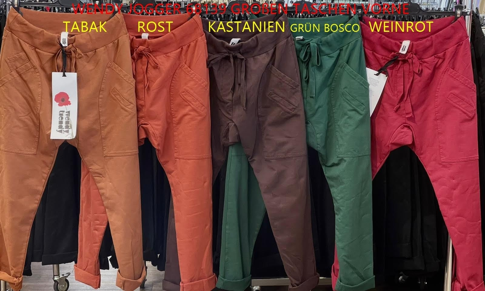 WENDY TRENDY WENDY TRENDY Joggingbroek   66055/68139 - Weinrot  26 met opgestikte zakken.