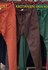 WENDY TRENDY WENDY TRENDY Joggingbroek   66055/68139 - Grün Bosco 28 met opgestikte zakken.