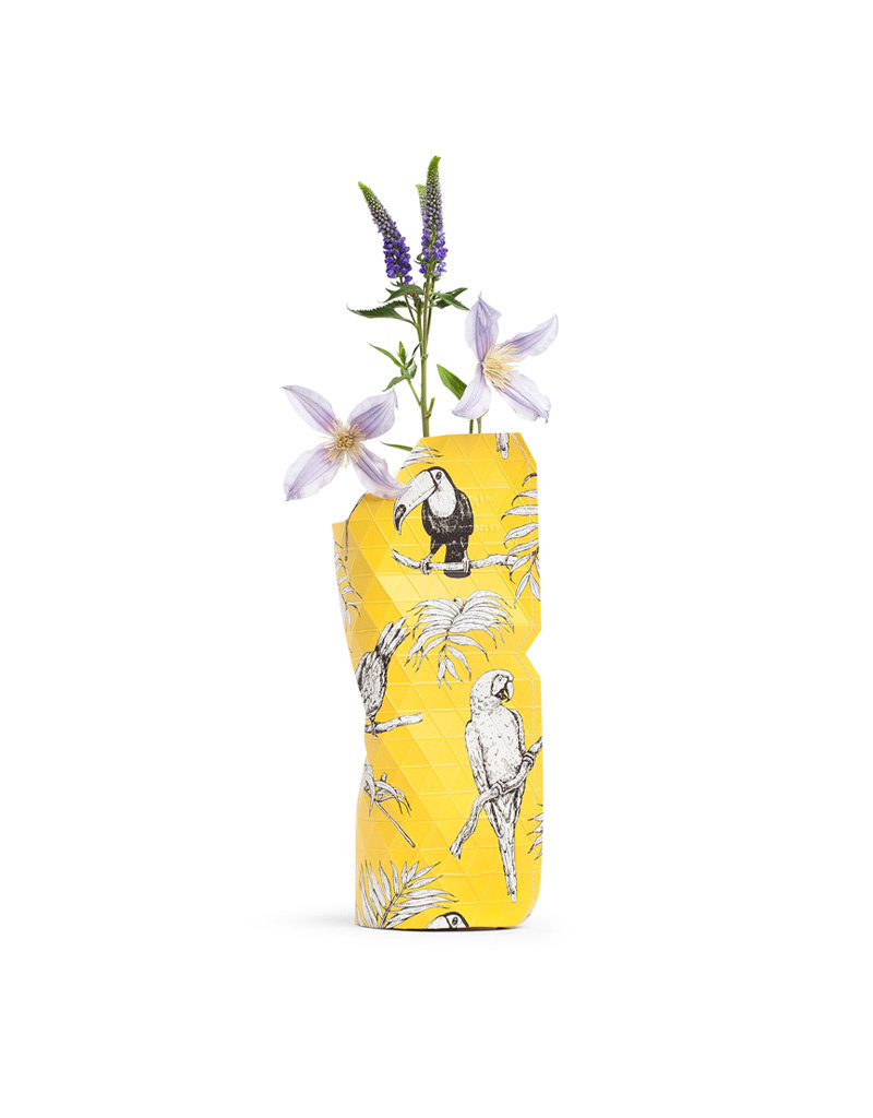 NEW: Paper Vase Cover Yellow Birds (small)