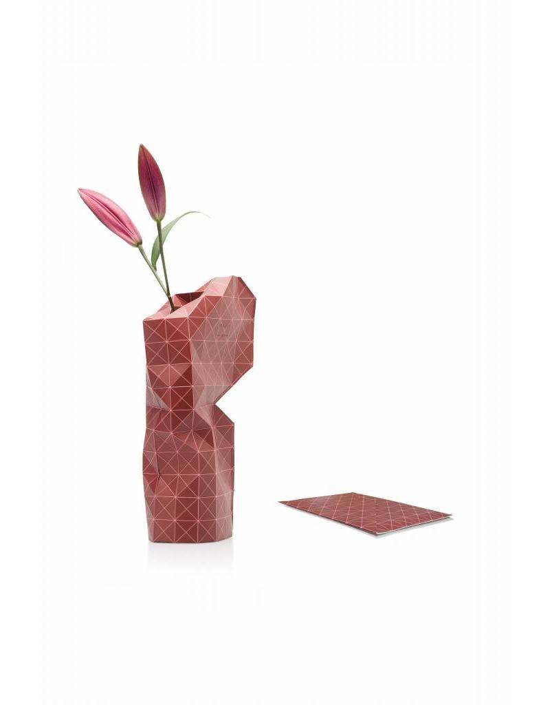 Paper Vase Cover Grid Red