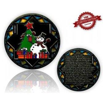 CacheQuarter Kerstmis geocoin Sneeuwpop  - zwart nikkel LE