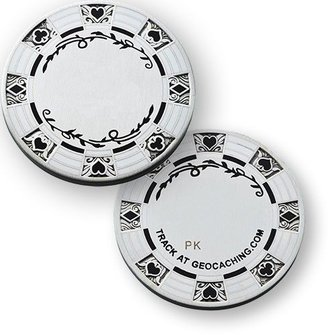 Coins and Pins Casino Poker geocoin - zilver