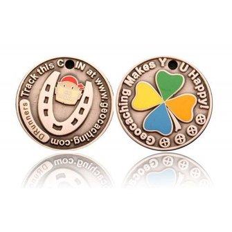 CacheQuarter Micro coin Hoefijzer - antiek zilver