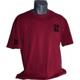 CacheQuarter T-shirt met geborduurd geocaching logo - rood/zwart