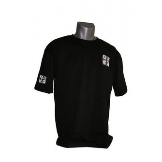 CacheQuarter T-shirt met geborduurd geocaching logo - zwart/wit