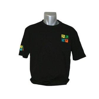 CacheQuarter T-shirt met geborduurd geocaching logo - zwart/kleur