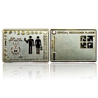 CacheQuarter Official geocacher Plaque - satijn zilver / goud