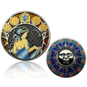 CacheQuarter 4 Seizoenen coin Herfst - antiek zilver