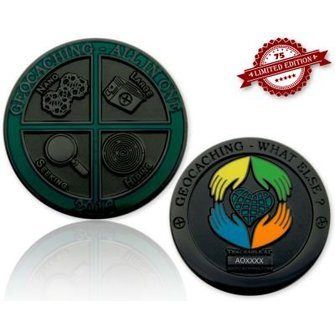 CacheQuarter Geocoin All in One 2016: Geocaching, what else? - Zwart Nikkel XLE