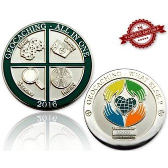 CacheQuarter Geocoin All in One 2016: Geocaching, what else? - gepolijst zilver XLE