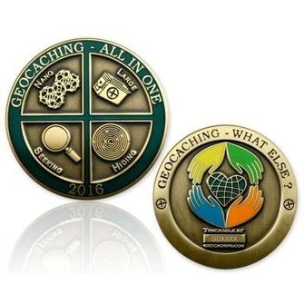 CacheQuarter Geocoin All in One 2016: Geocaching, what else? - antiek goud