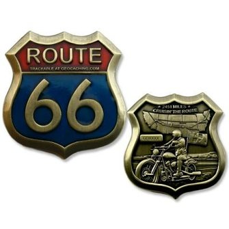 CacheQuarter Geocoin Route 66 - antiek goud