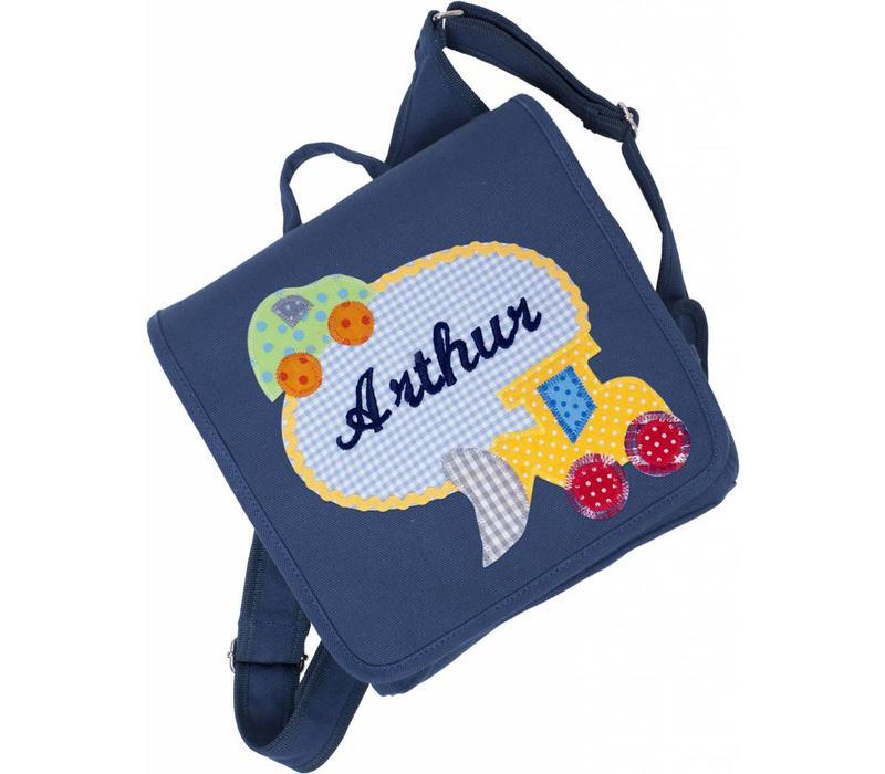 crepes suzette Kindergartentasche mit Namen,  Motiv Bagger, Dunkelblau
