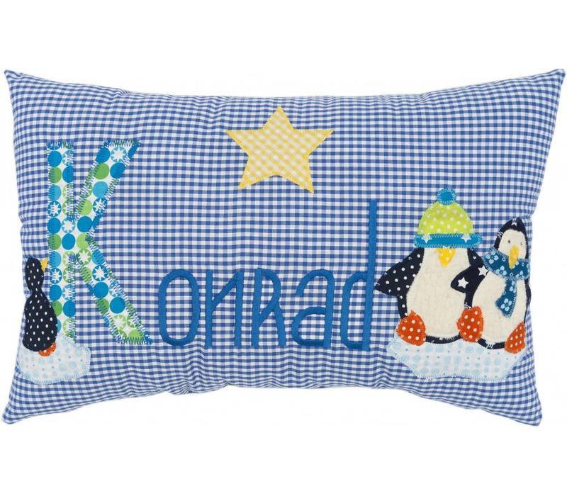 Namenskissen Pinguine, Farbe: Blau kariert