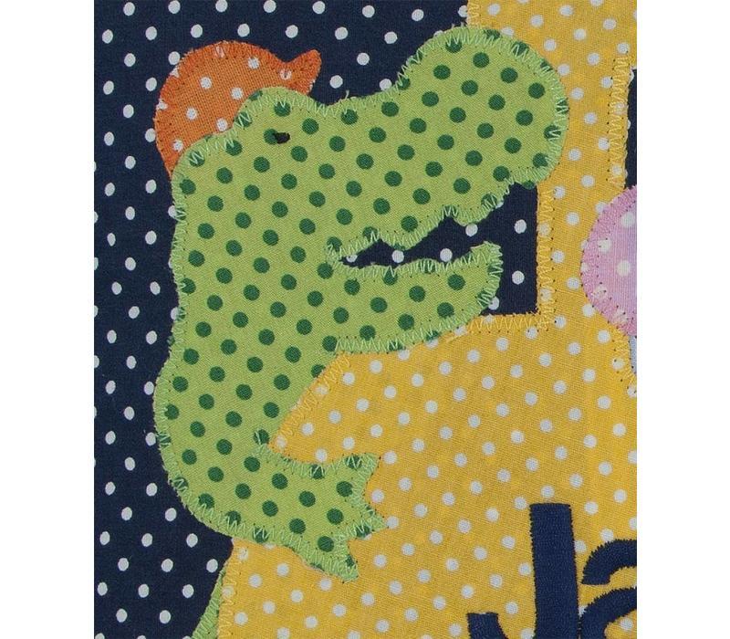 Namenskissen mit Bagger,  Schwein, Krokodil & Bär, Farbe: Dunkelblau