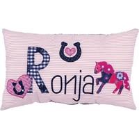 Namenskissen Pferd - Modell: Ronja, Farbe: Rosa gestreift, Blau