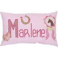 Namenskissen Pferd - Modell: Marlene, Farbe: Rosa kariert
