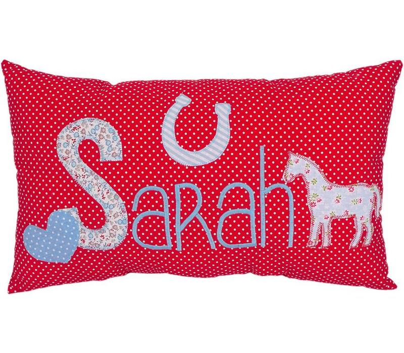 Namenskissen Pferd - Modell: Sarah, Farbe: Rot