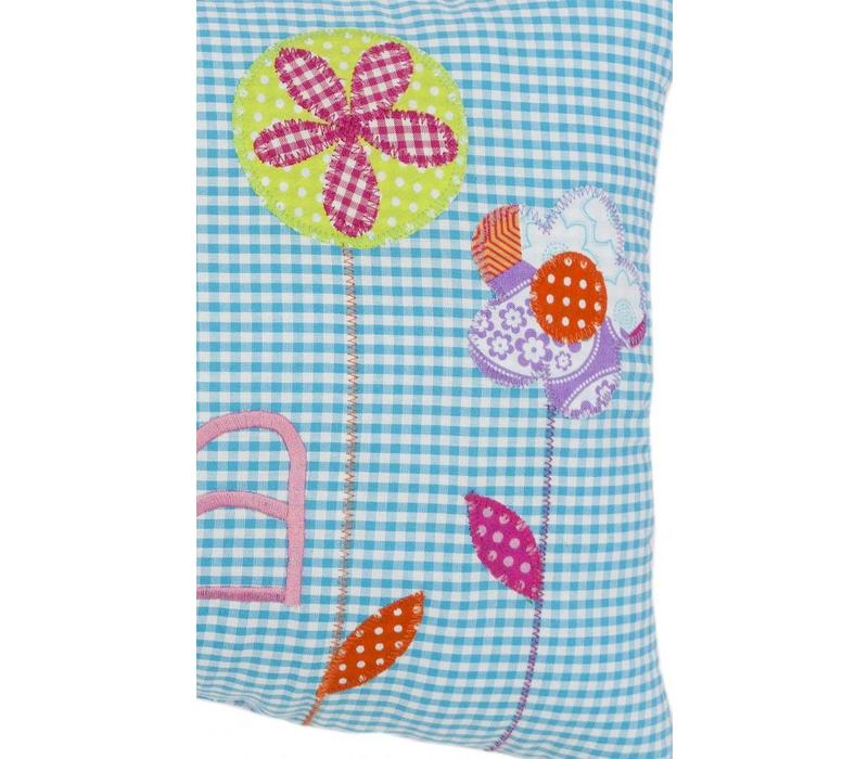 Namenskissen Schmetterling & Blumen, Farbe: Türkis