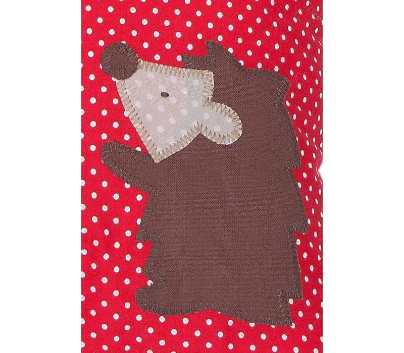 Namenskissen Igel und Eichhörnchen, Farbe: Rot mit weißen Pünktchen