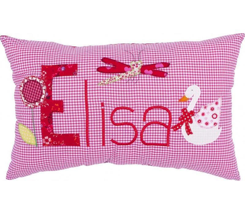 Namenskissen mit Schwan und Libelle, Farbe: Pink kariert