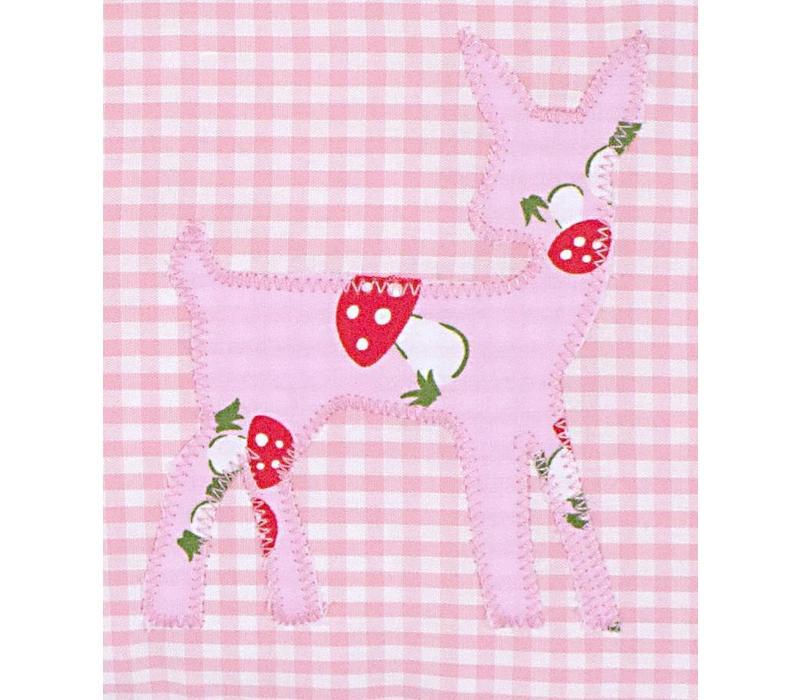 Namenskissen mit Bambi und Glückspilz, Farbe: Rosa kariert