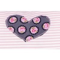 Kissen mit Namen bestickt und Blumen Farbe: Rosa mit Schwarz