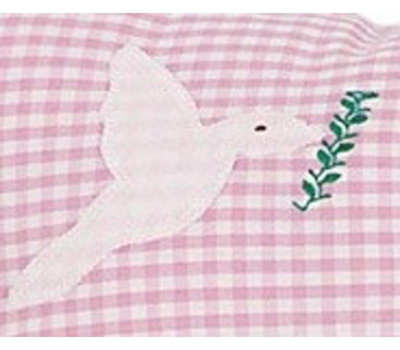 Namenskissen Arche Noah für Mädchen, Farbe: Rosa kariert