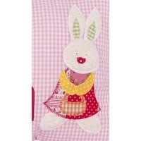 Individuelles Kissen mit Namen bestickt - niedlicher Hase aus Plüsch, Farbe: Rosa kariert