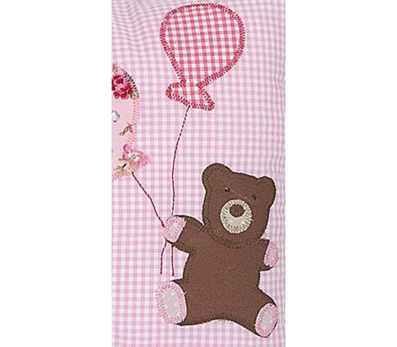 Kissen mit Namen bestickt zur Geburt und zur Taufe  Teddy & Luftballons, Farbe: Rosa gestreift