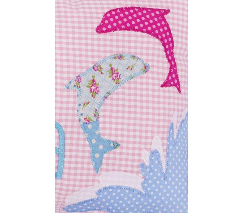 Namenskissen mit Delfin, Farbe: Rosa kariert