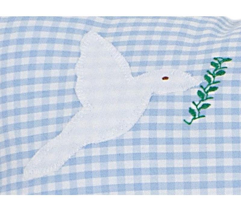 Namenskissen Taufgeschenk Arche Noah für Jungs, Farbe: Hellblau kariert