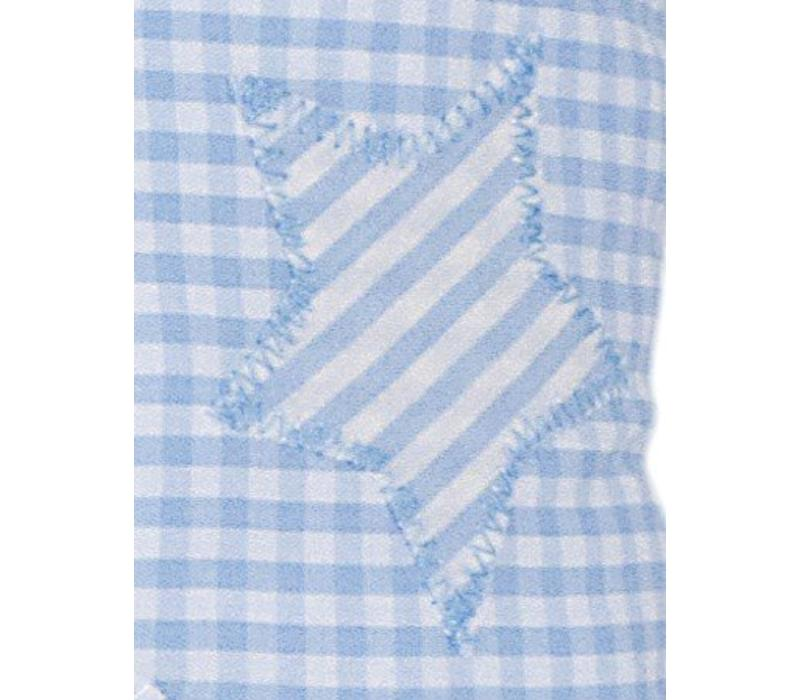Namenskissen Schutzengel für Jungen, Farbe: Hellblau kariert