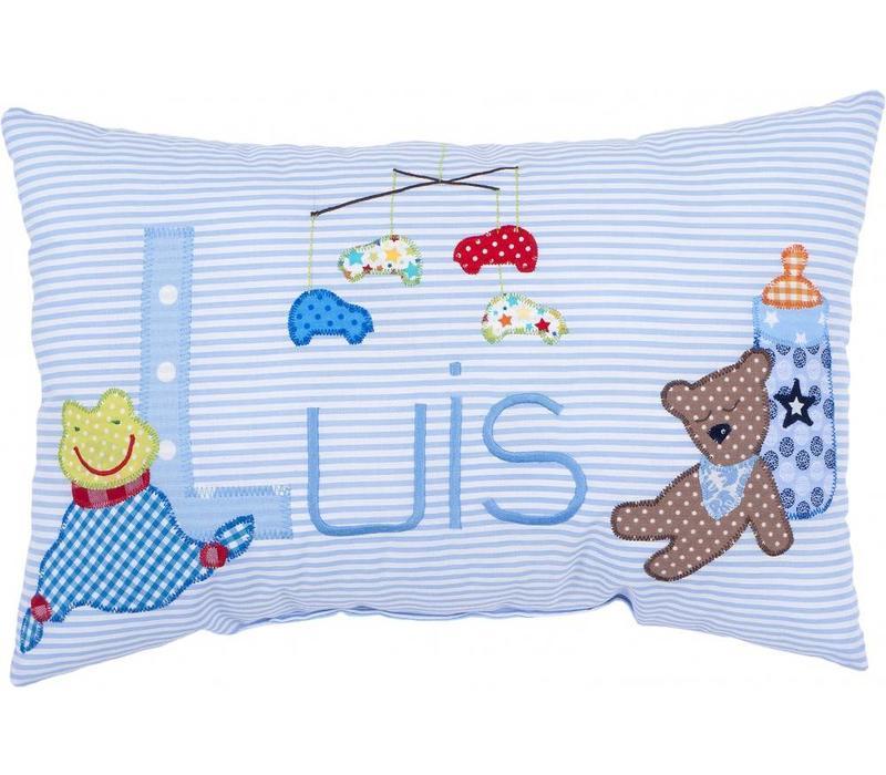 Namenskissen zur Geburt Schnuffeltuch und Bär, Farbe: Hellblau gestreift