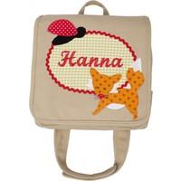 Kindergartentasche mit Namen bestickt, Fuchs und Marienkäfer