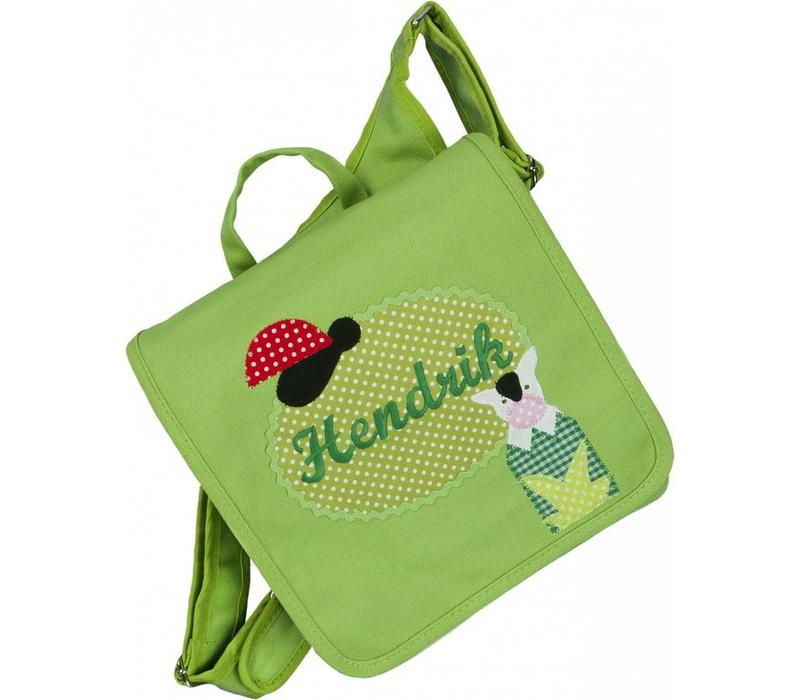 Kindergartentasche / Rucksack mit Namen bestickt. Motiv: Marienkäfer und Kuh