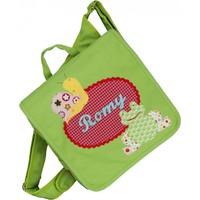Kindergartentasche / Rucksack mit Namen bestickt. Frosch und Schnecke