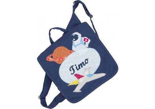 crêpes suzette crêpes suzette Kindergartentasche und Rucksack in einem mit Namen bestickt mit Astronaut Raumschiff und Planeten.