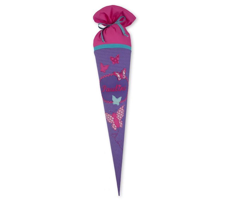 Schultüte aus Stoff Schmetterlinge für Mädchen, Farbe Lila