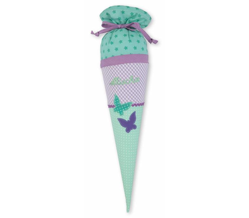 Geschwisterschultüte aus Stoff mit Schmetterling  und Wunschnamen, Farbe Flieder Mint