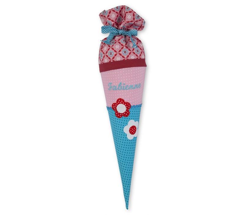 Geschwisterschultüte aus Stoff mit Blumen  und Wunschnamen, Farbe Rosa Rot Türkis