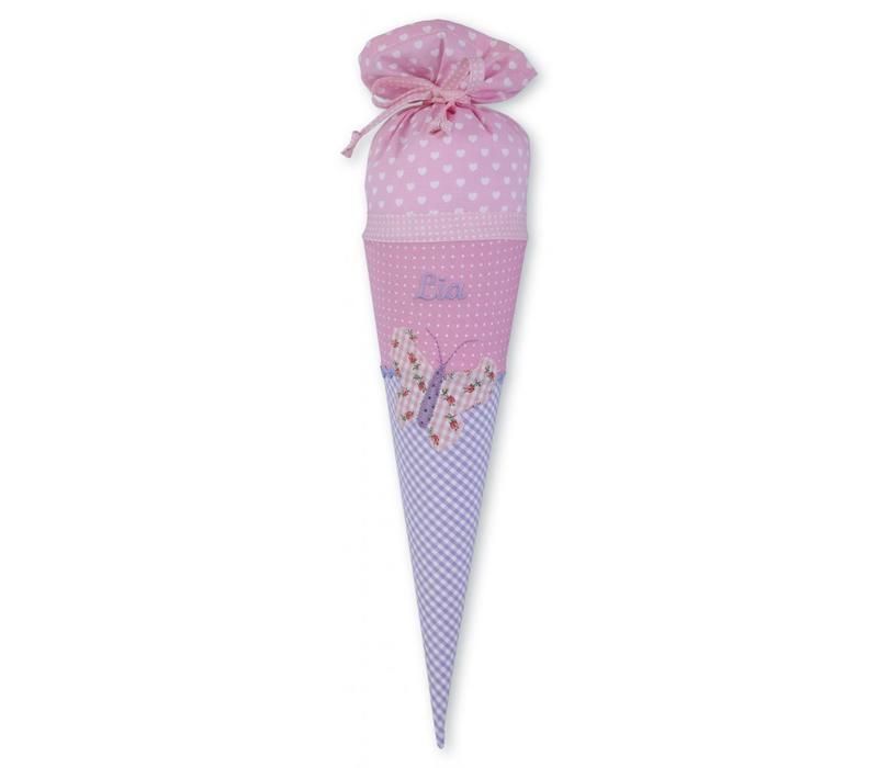 Geschwisterschultüte aus Stoff mit Schmetterling  und Wunschnamen, Farbe Rosa Flieder