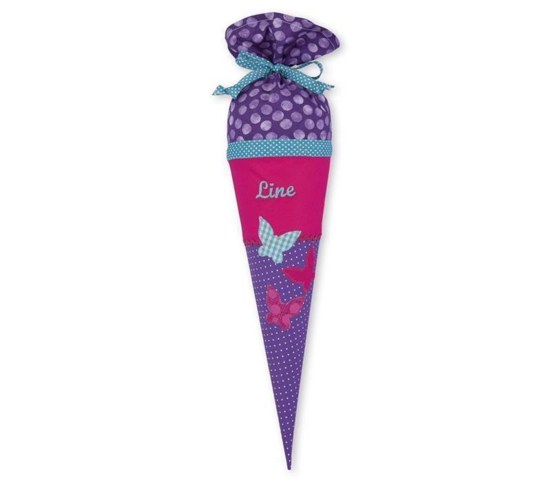 Geschwisterschultüte aus Stoff mit Schmetterling  und Wunschnamen, Farbe Lila Pink