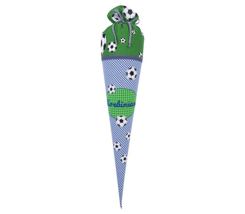 Schultüte aus Stoff, Fußball  Farbe : Blau Grün