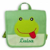 Kindergartentasche / Rucksack mit Namen bestickt. Frosch , Farbe: Grün