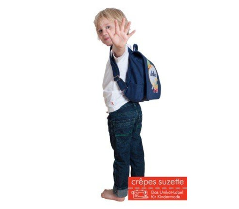 Kindergartentasche / Rucksack mit Namen bestickt. Hund, Farbe: Dunkelblau