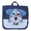 crêpes suzette Kindergartentasche / Rucksack mit Namen bestickt. Hund, Farbe: Dunkelblau