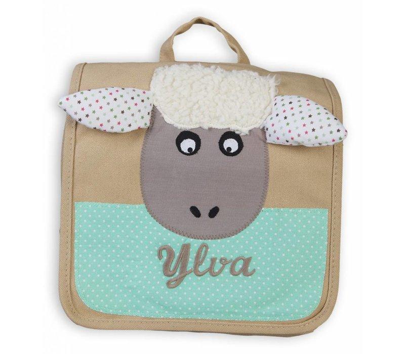 Kindergartentasche / Rucksack mit Namen bestickt. Schaf, Farbe: Beige