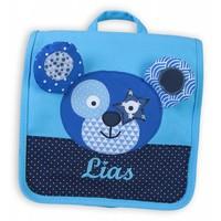 Kindergartentasche / Rucksack mit Namen bestickt. Bär, Farbe: Türkis